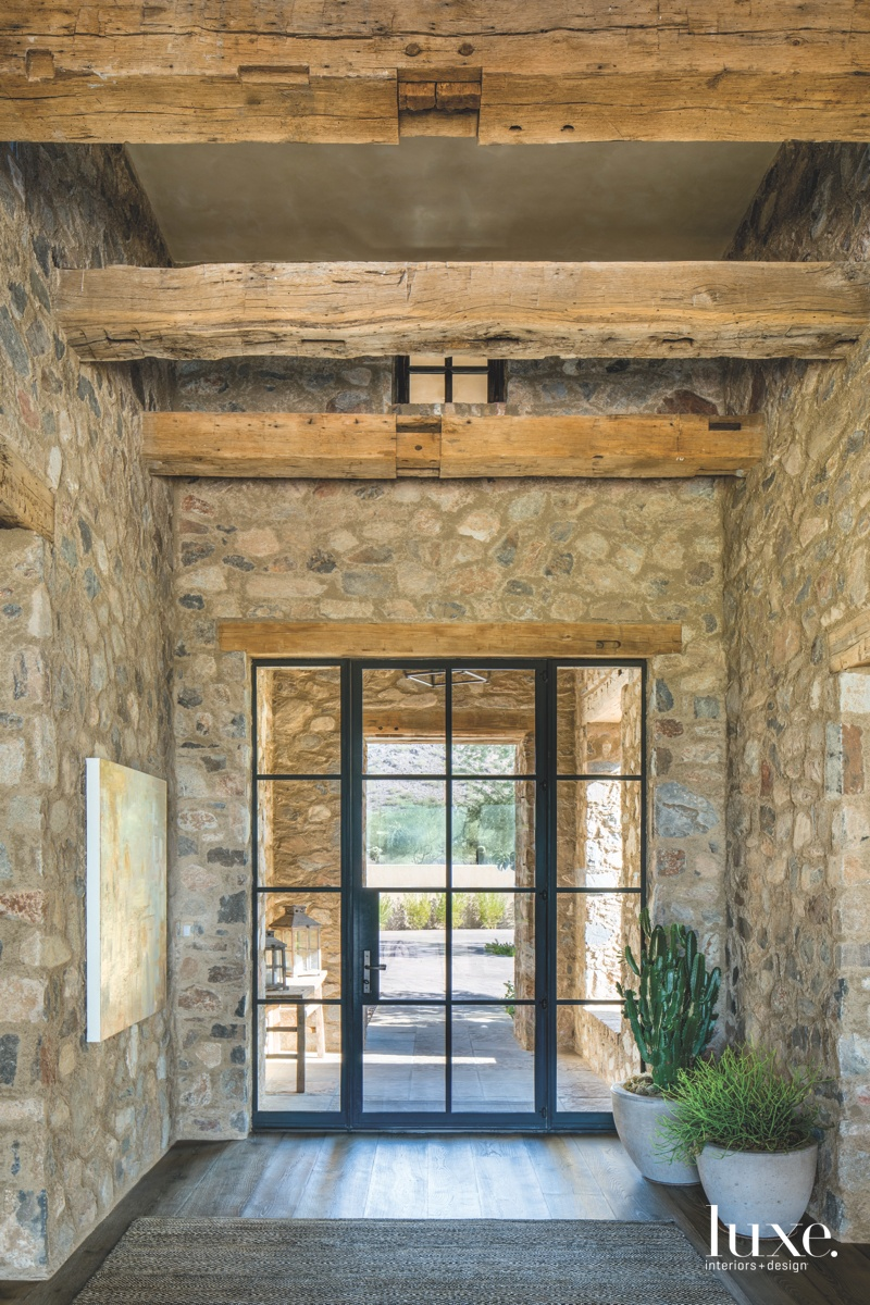 mediterranean entry glass-paneled door