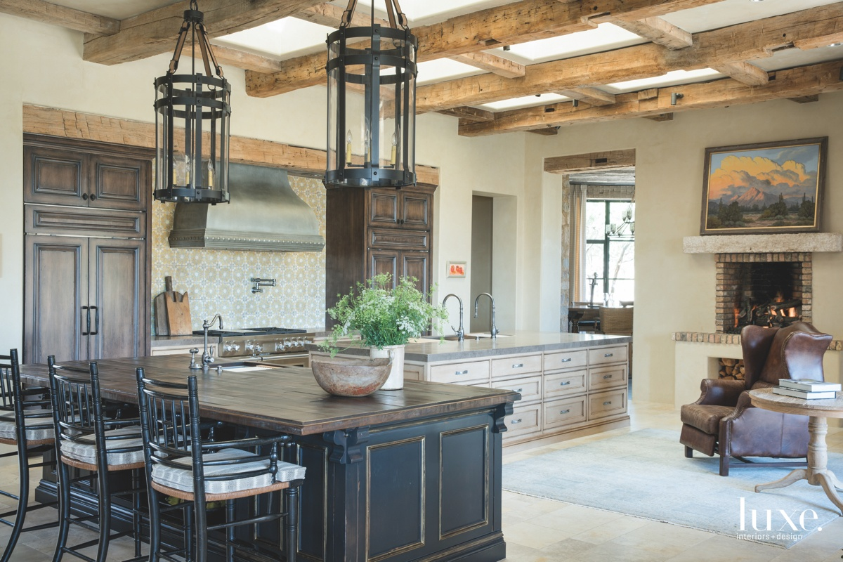 mediterranean kitchen brown marble countertop...