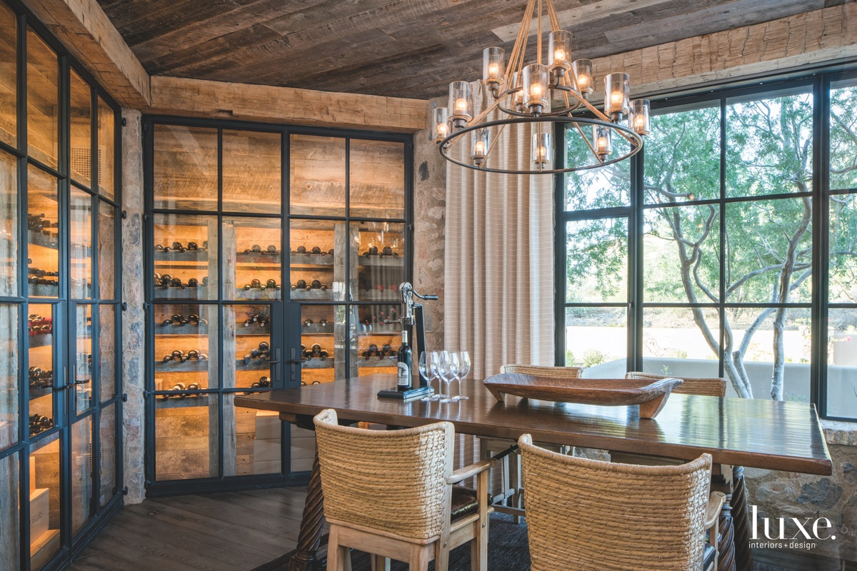mediterranean wine room dining area...