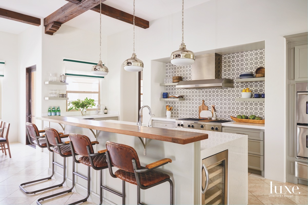 modern kitchen white brown barstools...