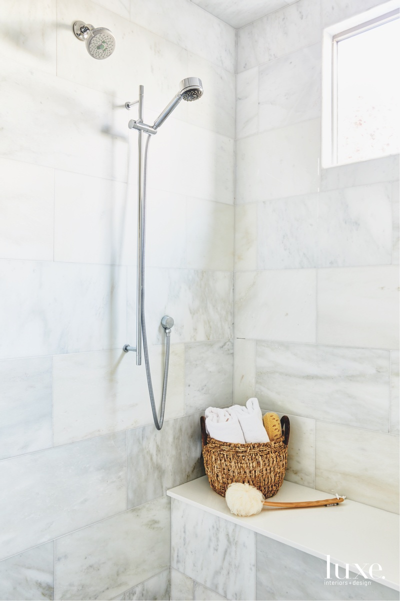 modern bathroom white tile shower