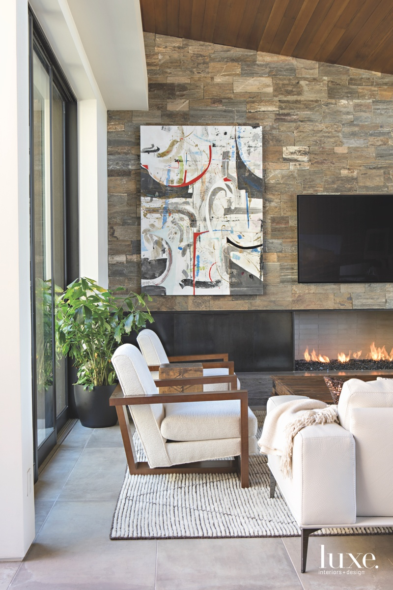 modern living room fireplace artwork...