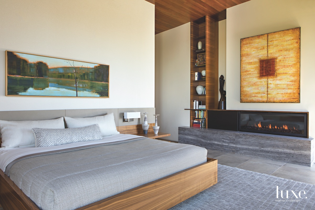 modern neutral bedroom fireplace gray...