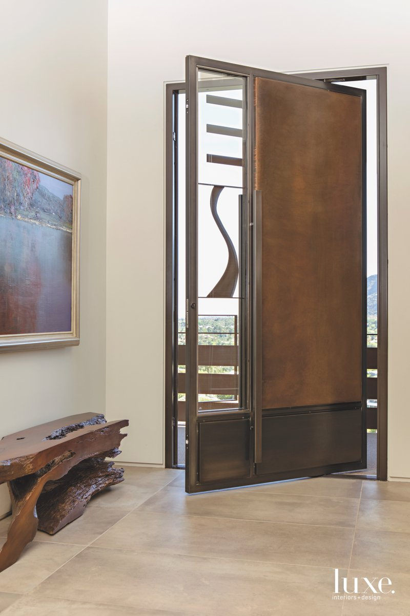 modern entry brown door