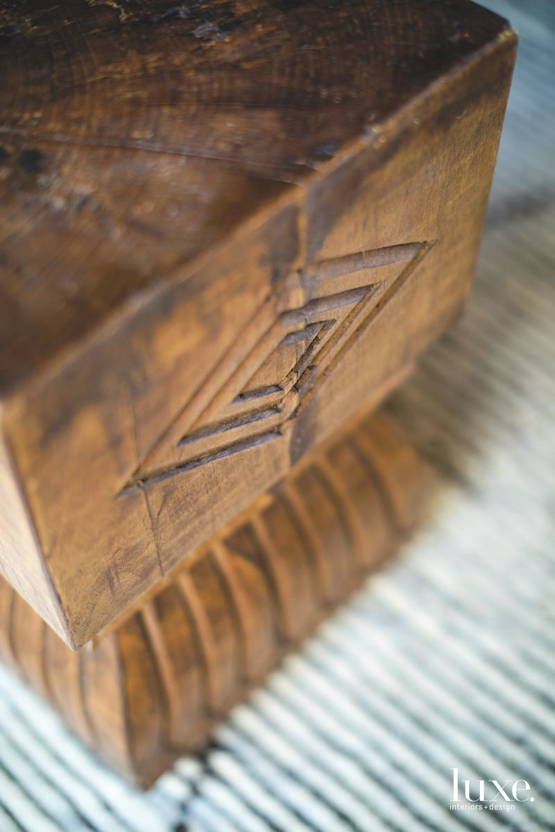 modern carved-wood side table living...