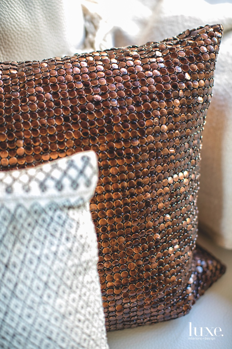modern living area textured pillows