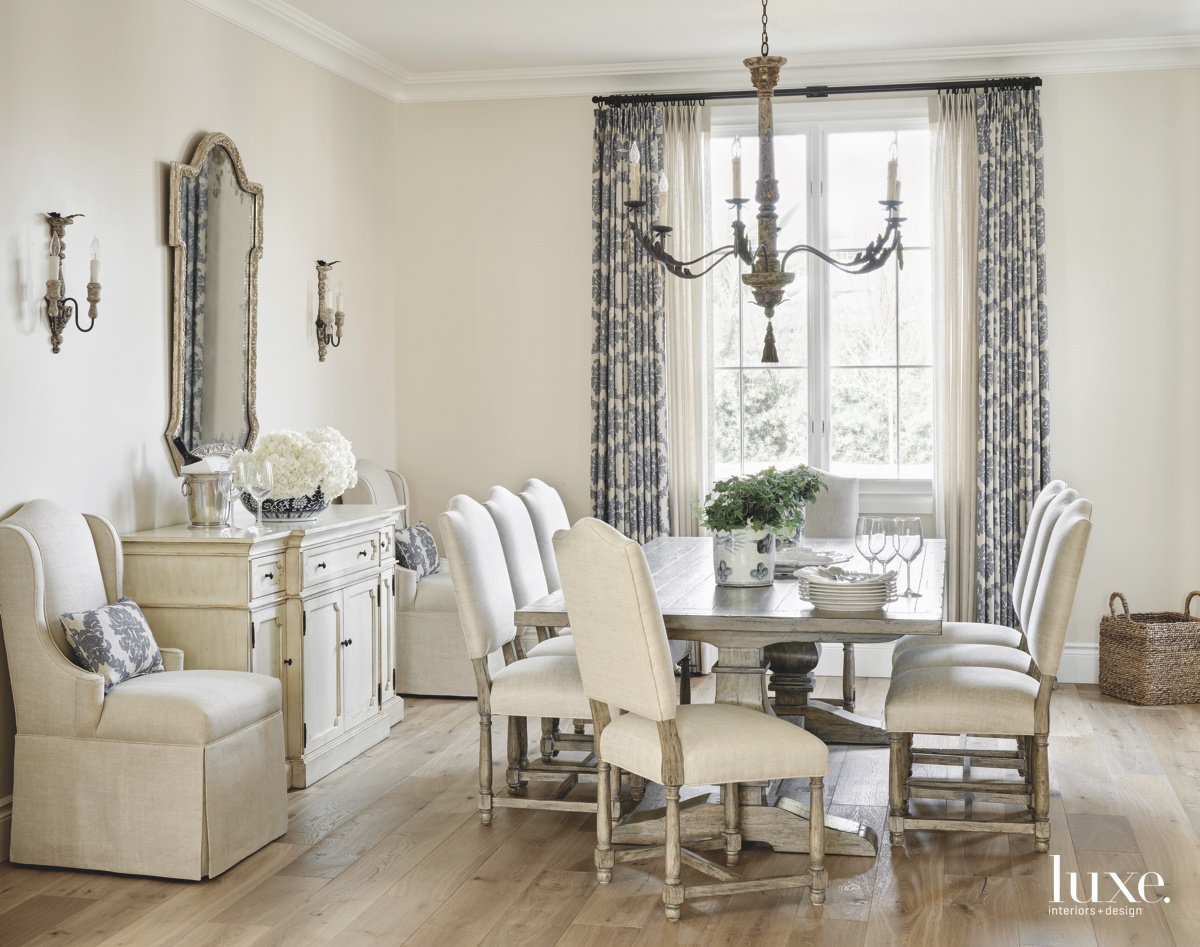 traditional neutral dining room chandelier