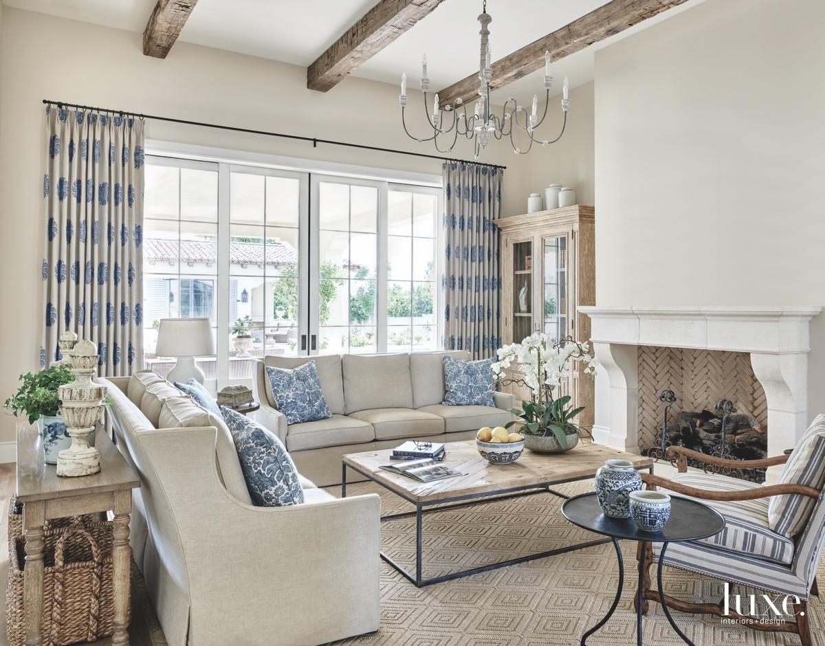 traditional living room neutral blue...
