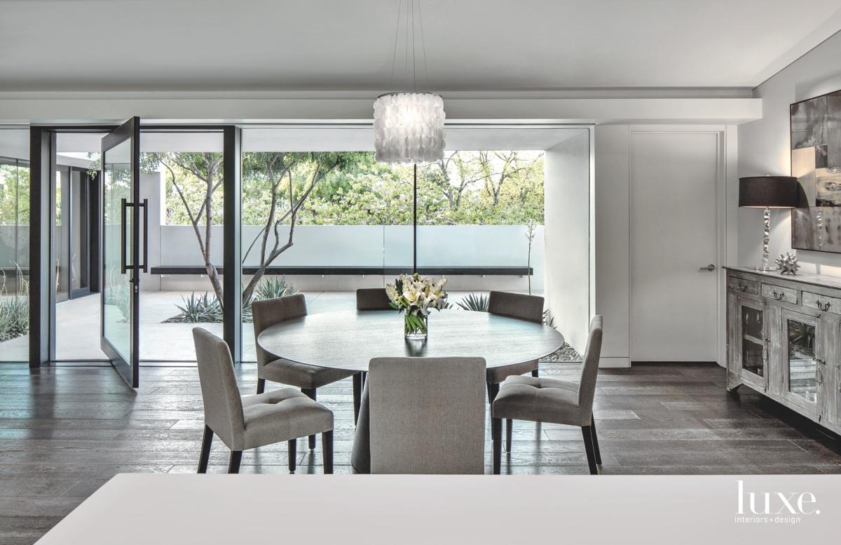 modern dining area gray palette