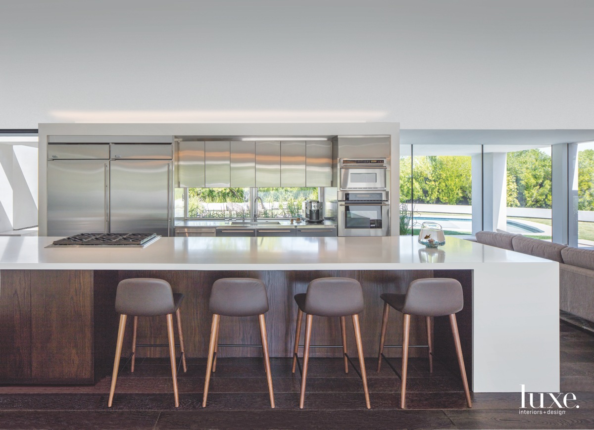 modern kitchen brown counter stools...