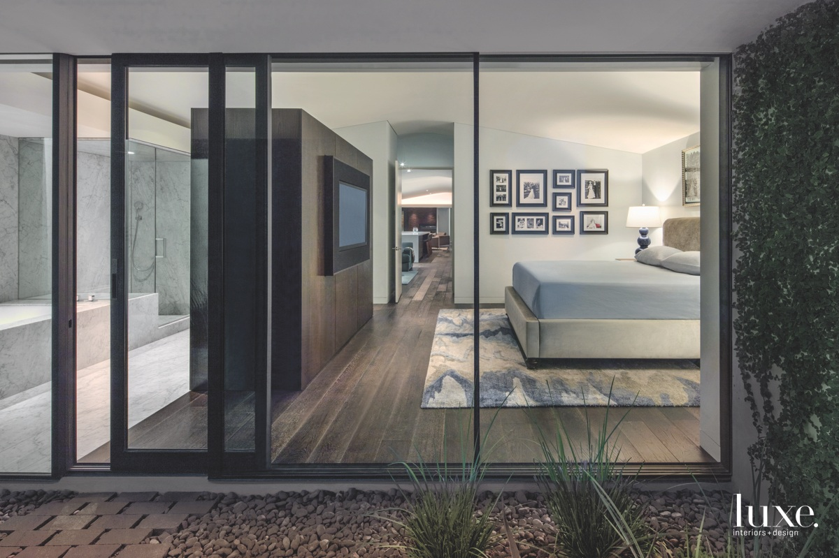 modern glass walls bedroom