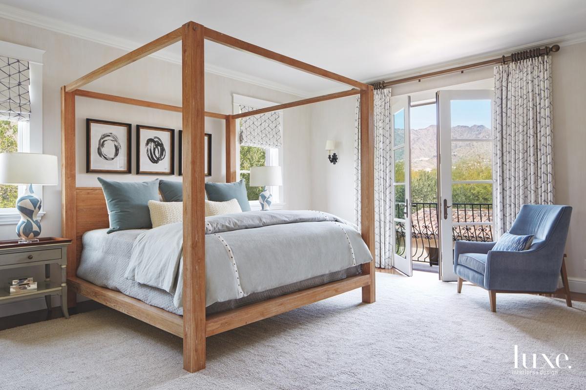mediterranean neutral bedroom blue accents