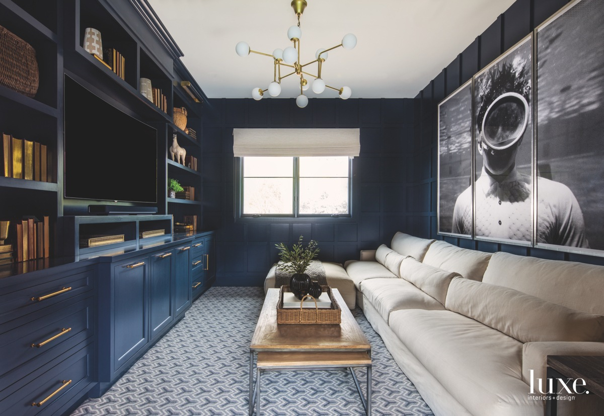 contemporary media room navy cabinetry