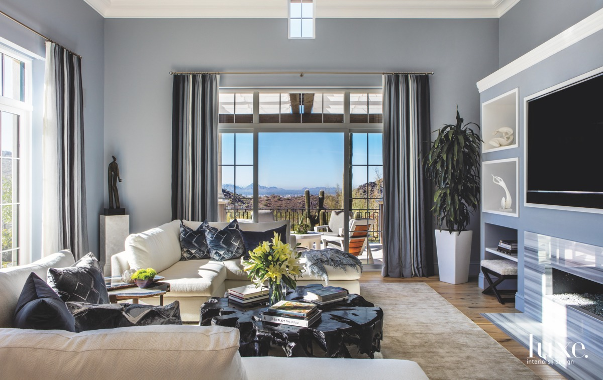 transitional living room black accents