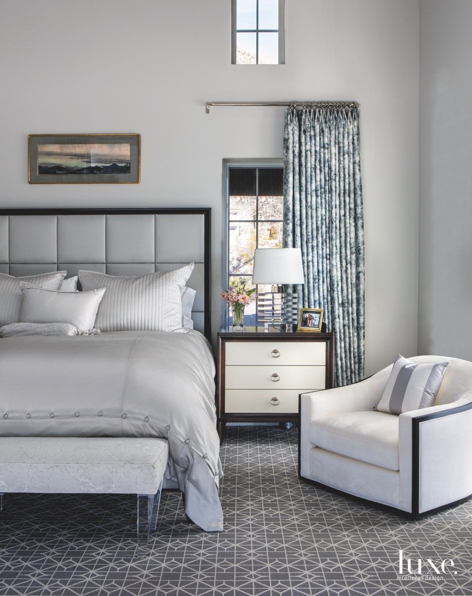 transitional gray bedroom bed
