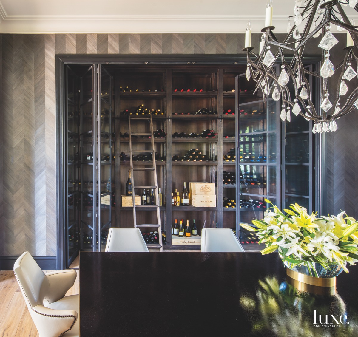 transitional dining room and wine...
