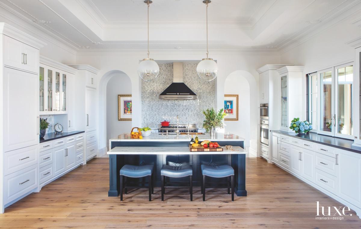 transitional kitchen blue island white...