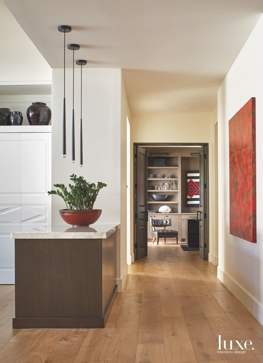 contemporary neutral hallway oak flooring