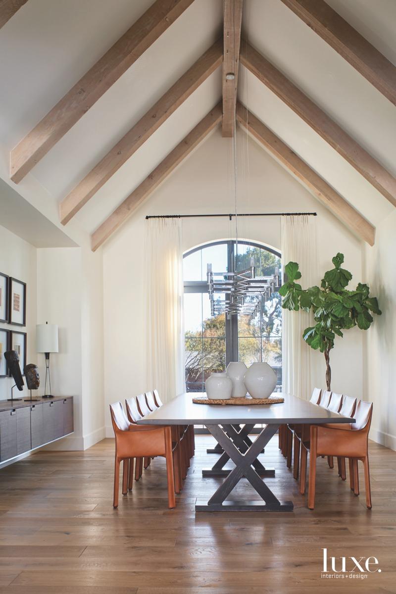 contemporary dining room walnut table