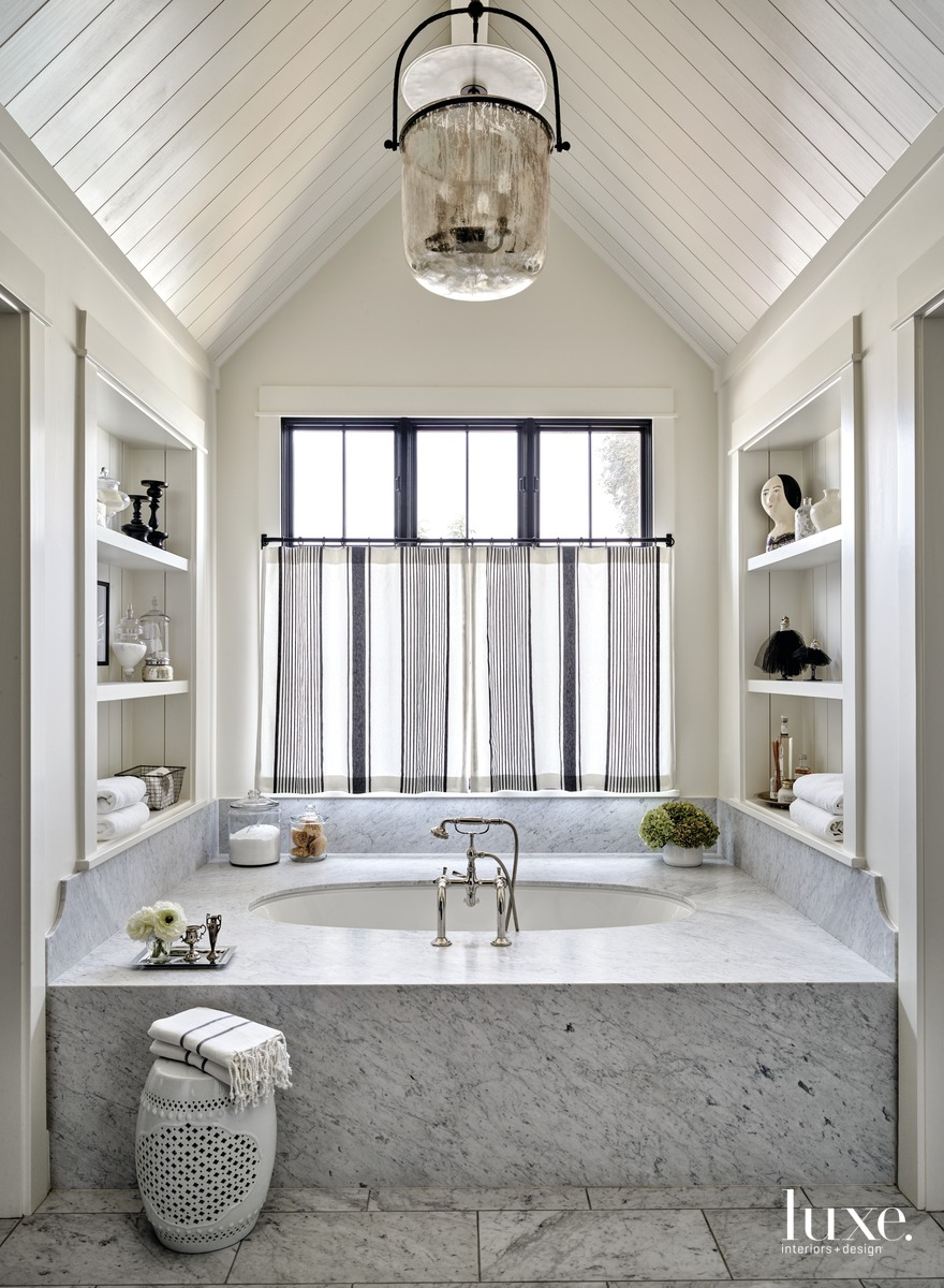 transitional gray bathroom tub