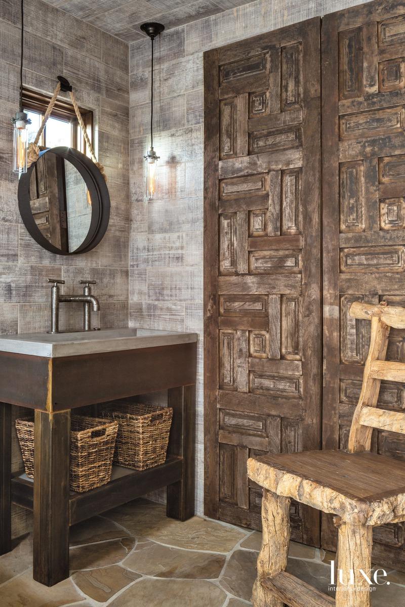 contemporary brown bathroom