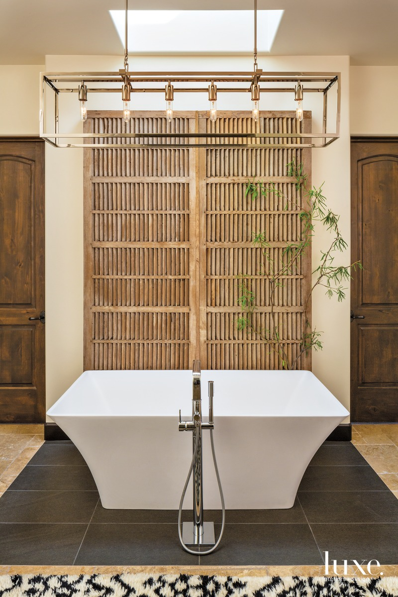 contemporary neutral bathroom white freestanding...