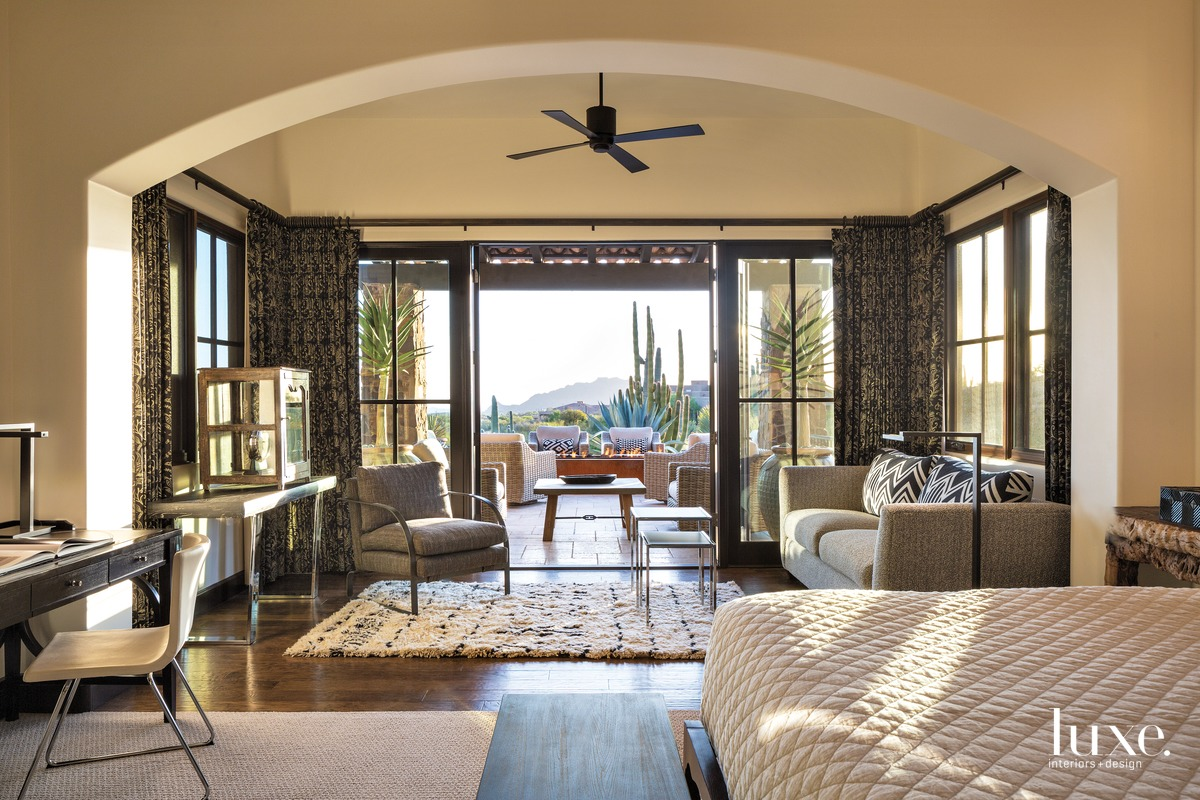 contemporary bedroom glass sliding doors...