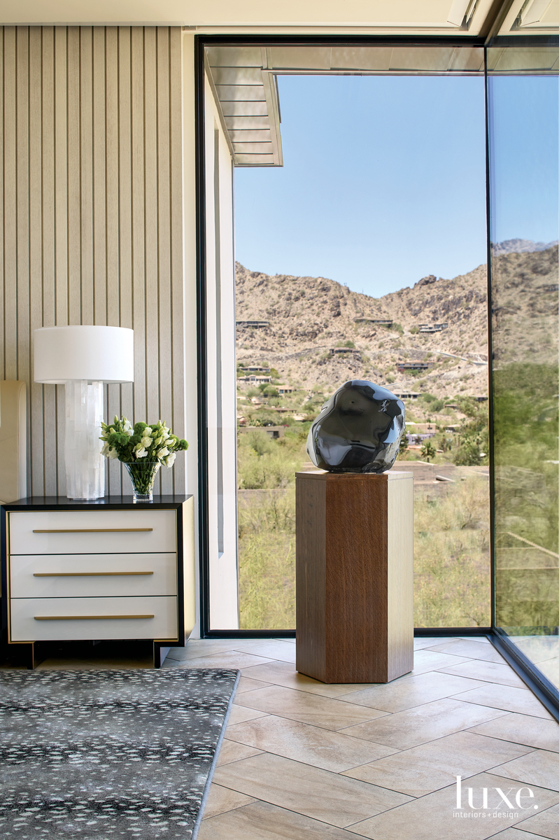 mid-century modern bedroom obsidian sculpture