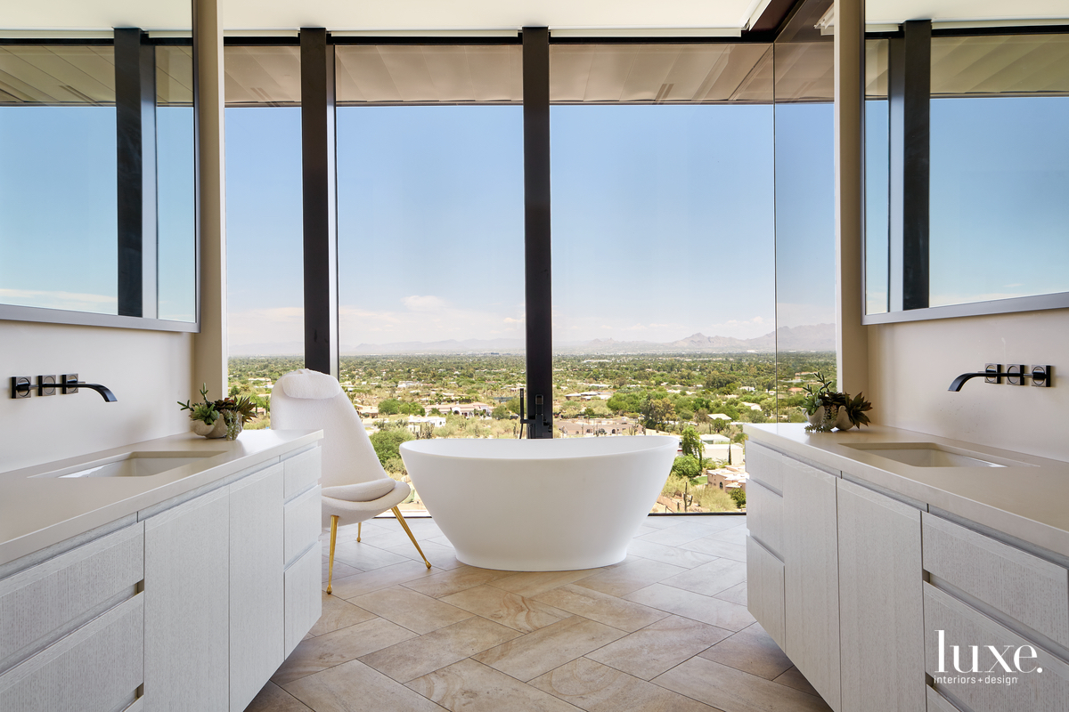 mid-century modern bathroom white freestanding...