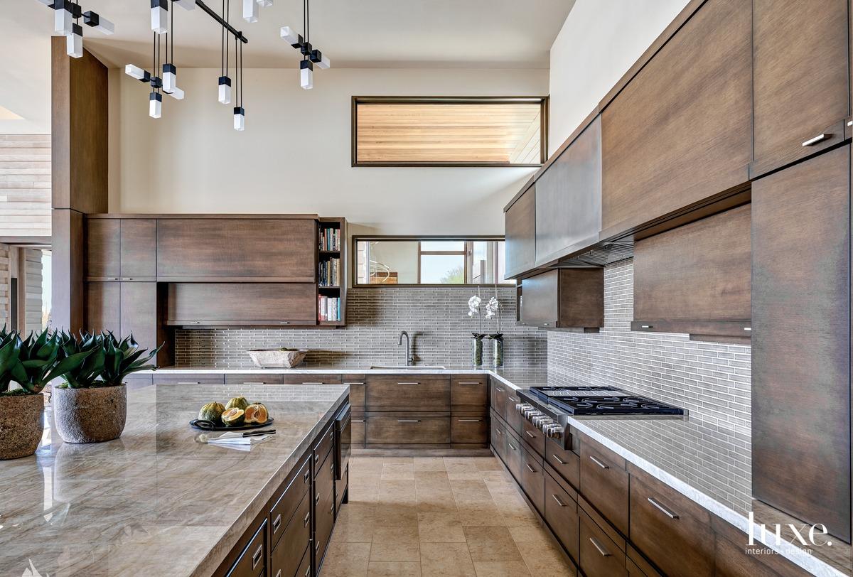 transitional kitchen neutral brown palette