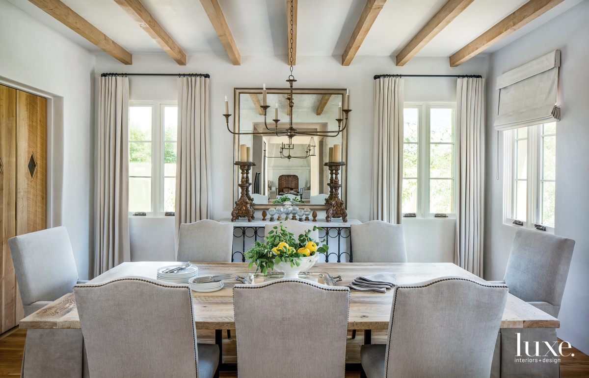 rustic neutral dining room beamed...
