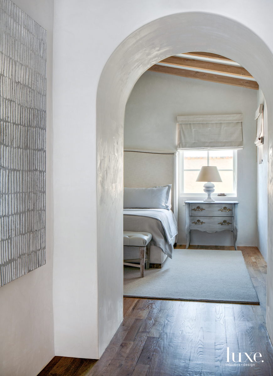 rustic arch to bedroom neutral...