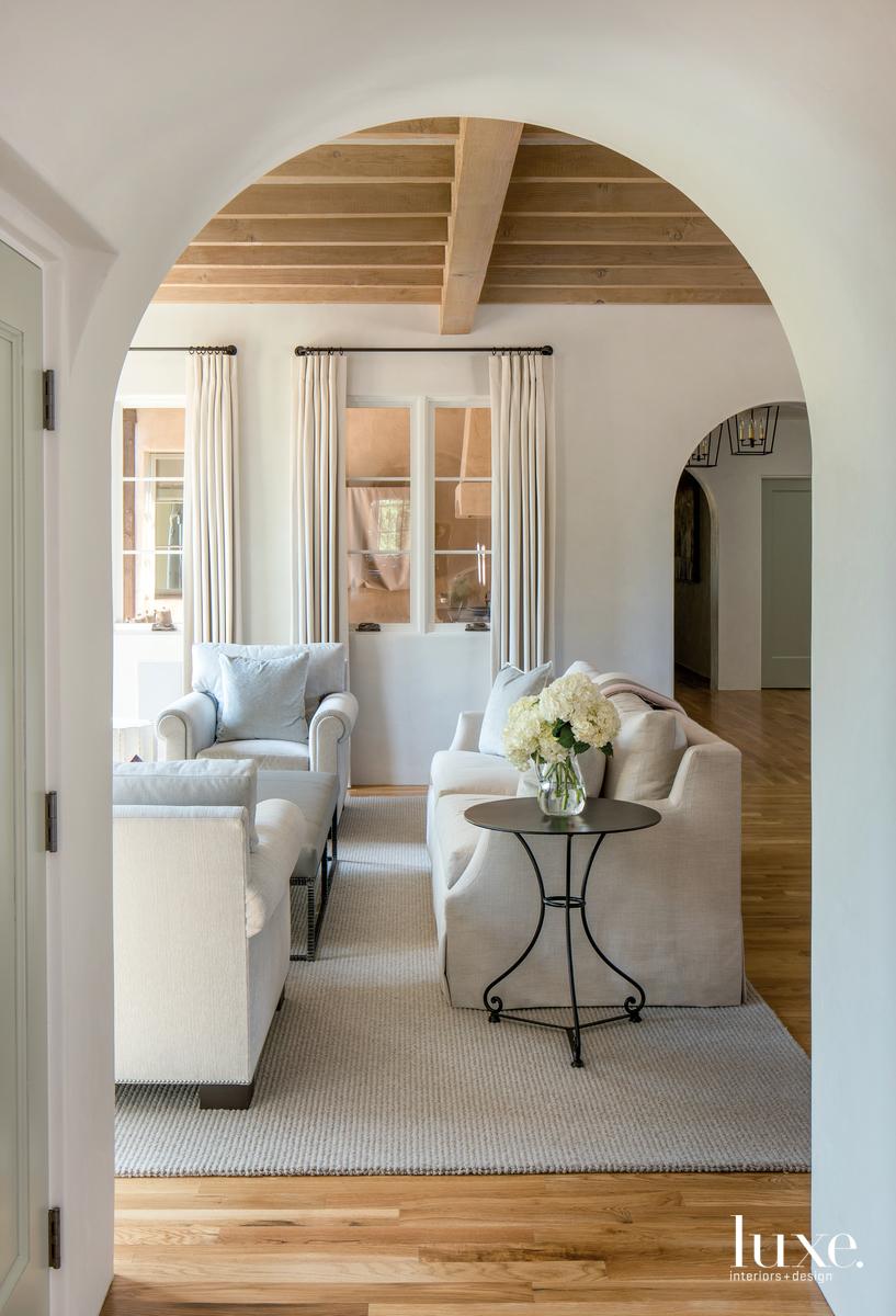 rustic living room white-oak floors...