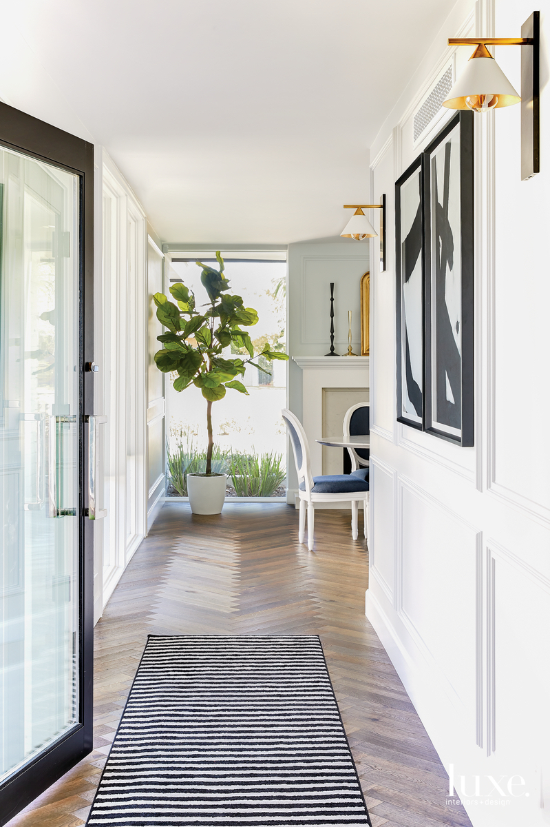 contemporary hallway black and white...