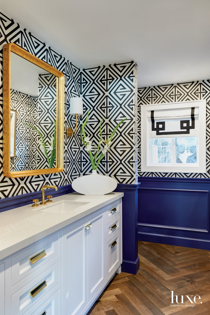 contemporary bathroom white cabinetry blue...