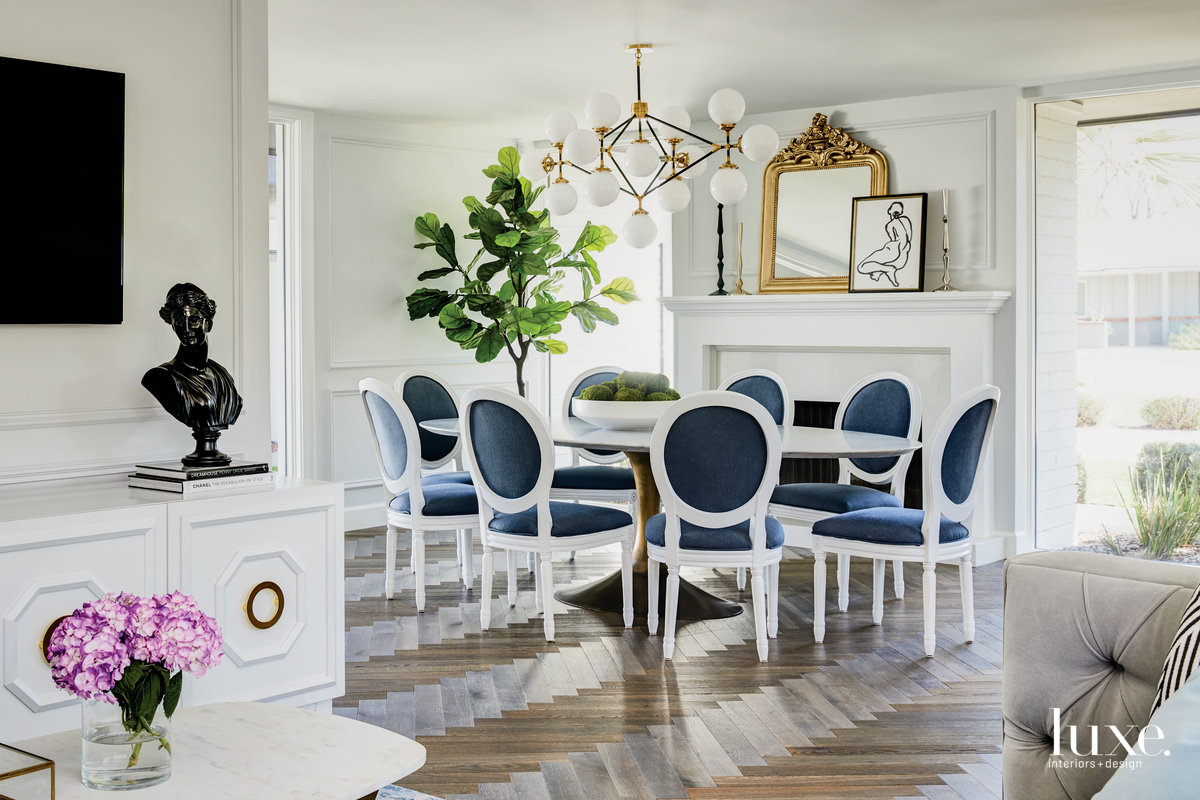 contemporary white dining room navy-and-white...