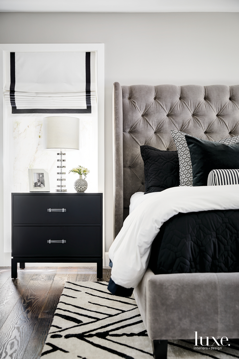 contemporary bedroom gray and black...