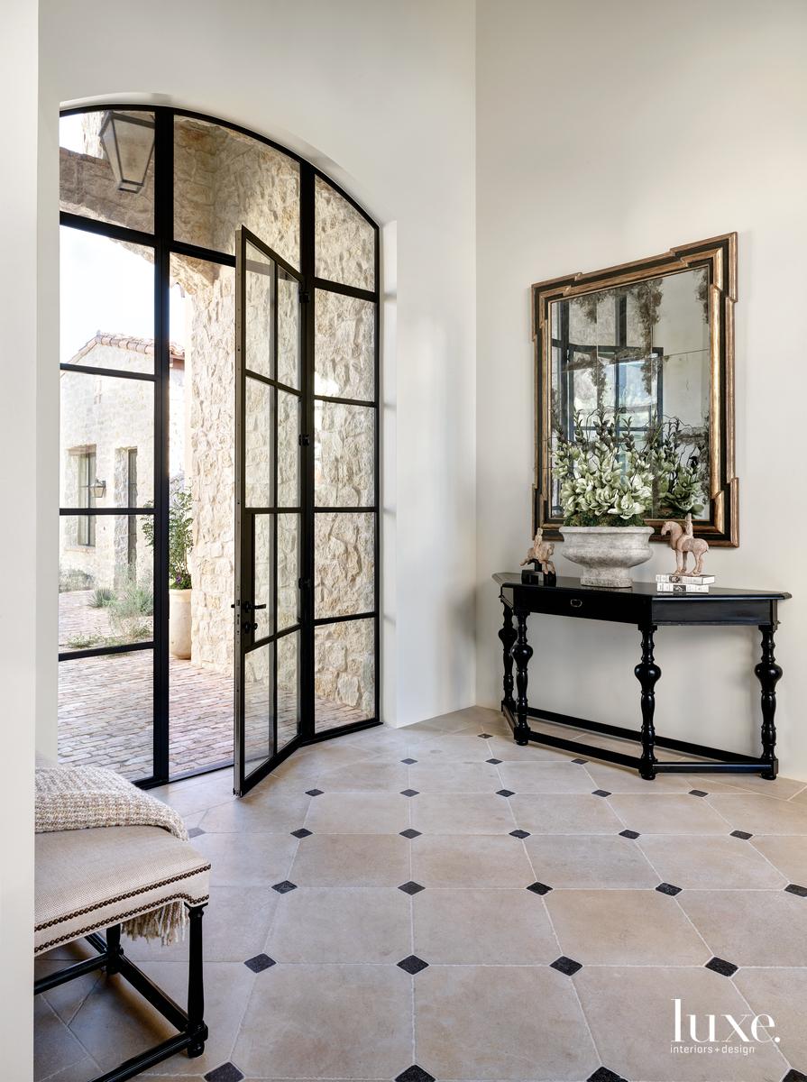 traditional entryway glass door mirror...