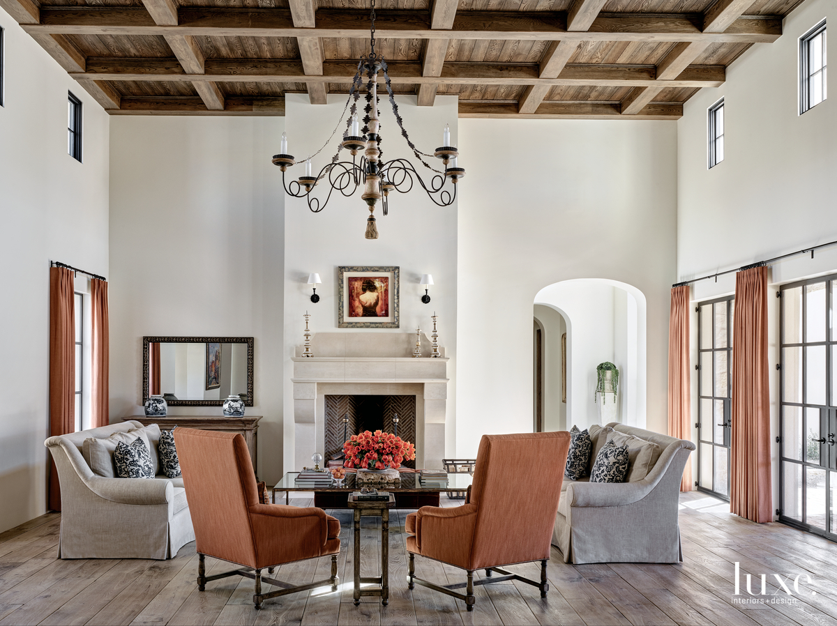 traditional living room gray and...