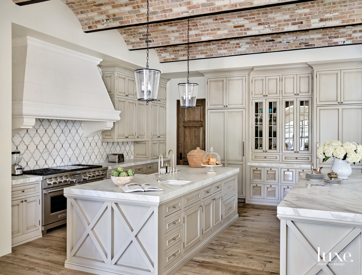 traditional neutral kitchen marble countertops