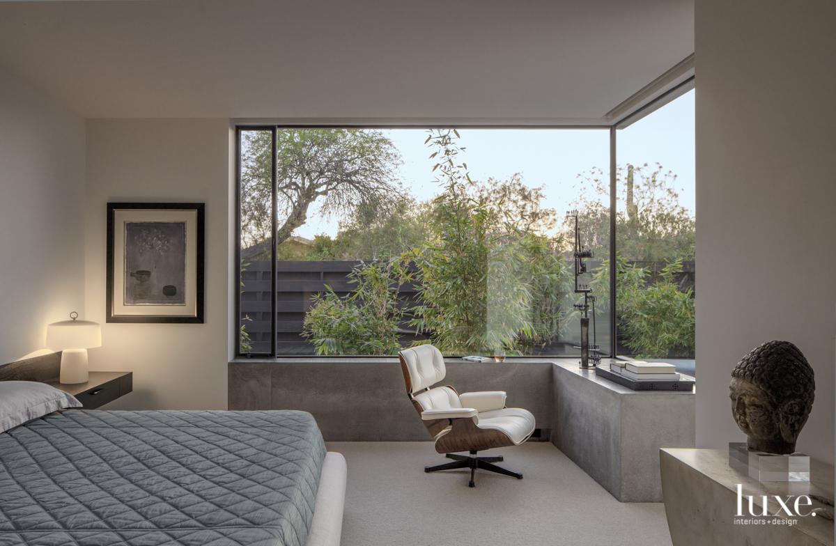 modern gray bedroom glass windows