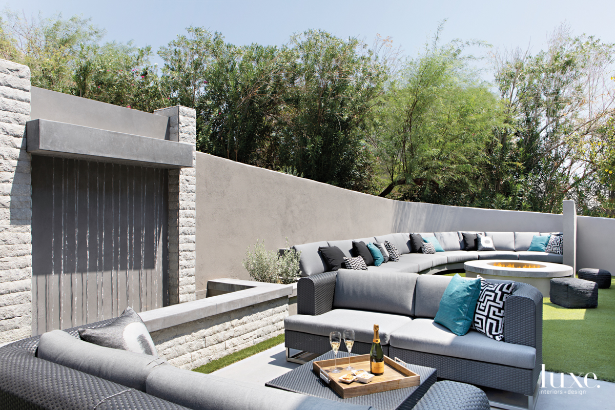 modern gray outdoor sitting area...
