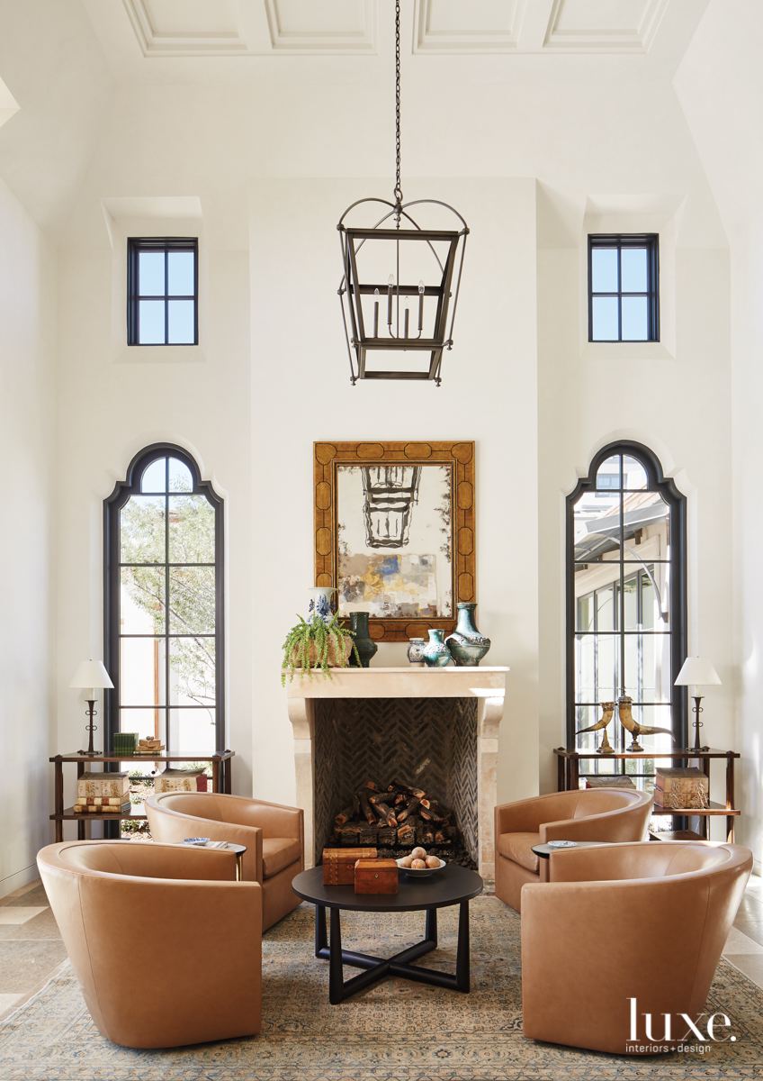 transitional neutral living room fireplace