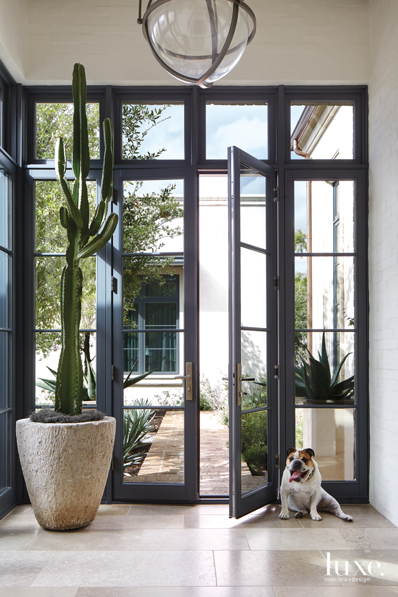 transitional neutral entry glass door