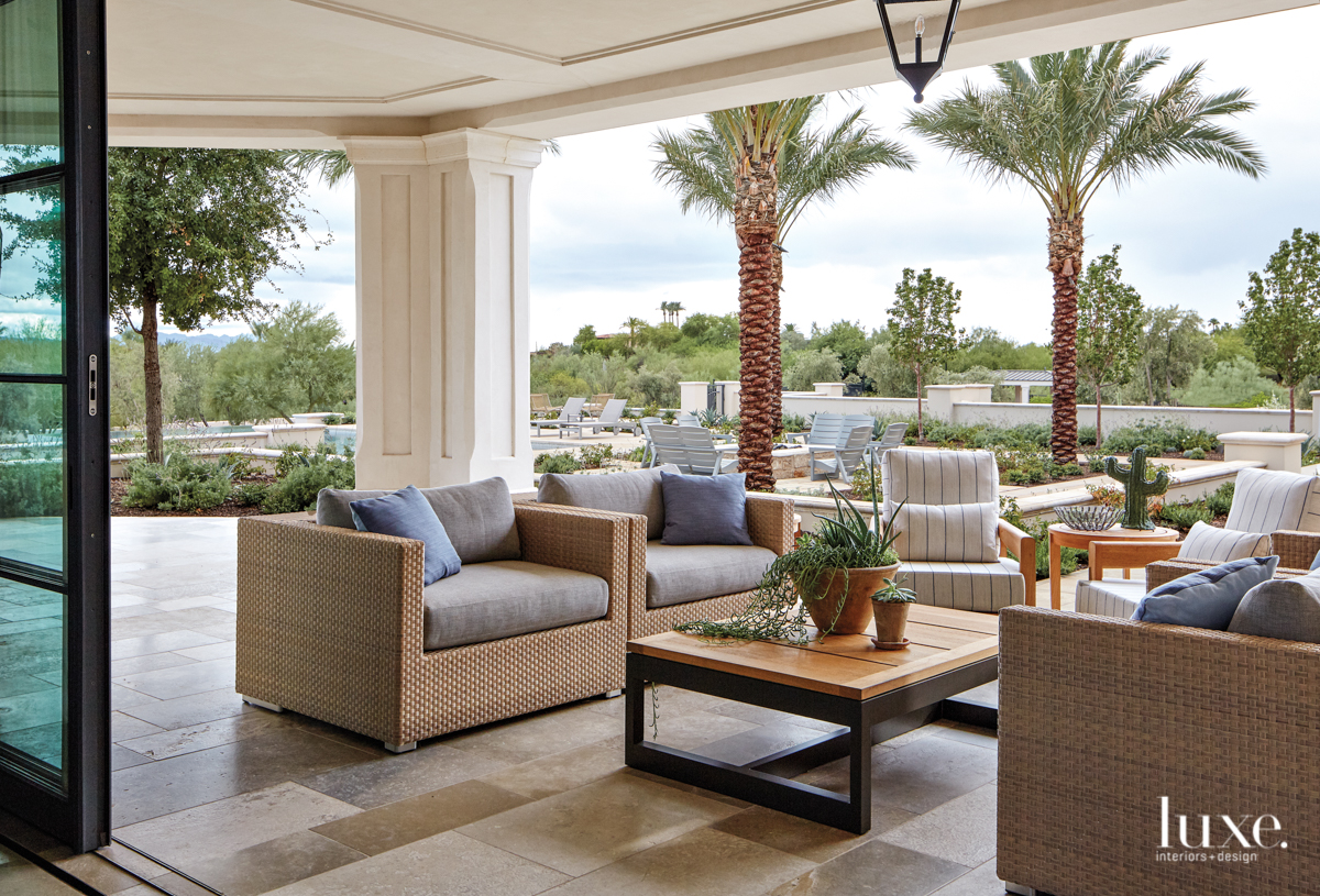 transitional outdoor sitting area neutral