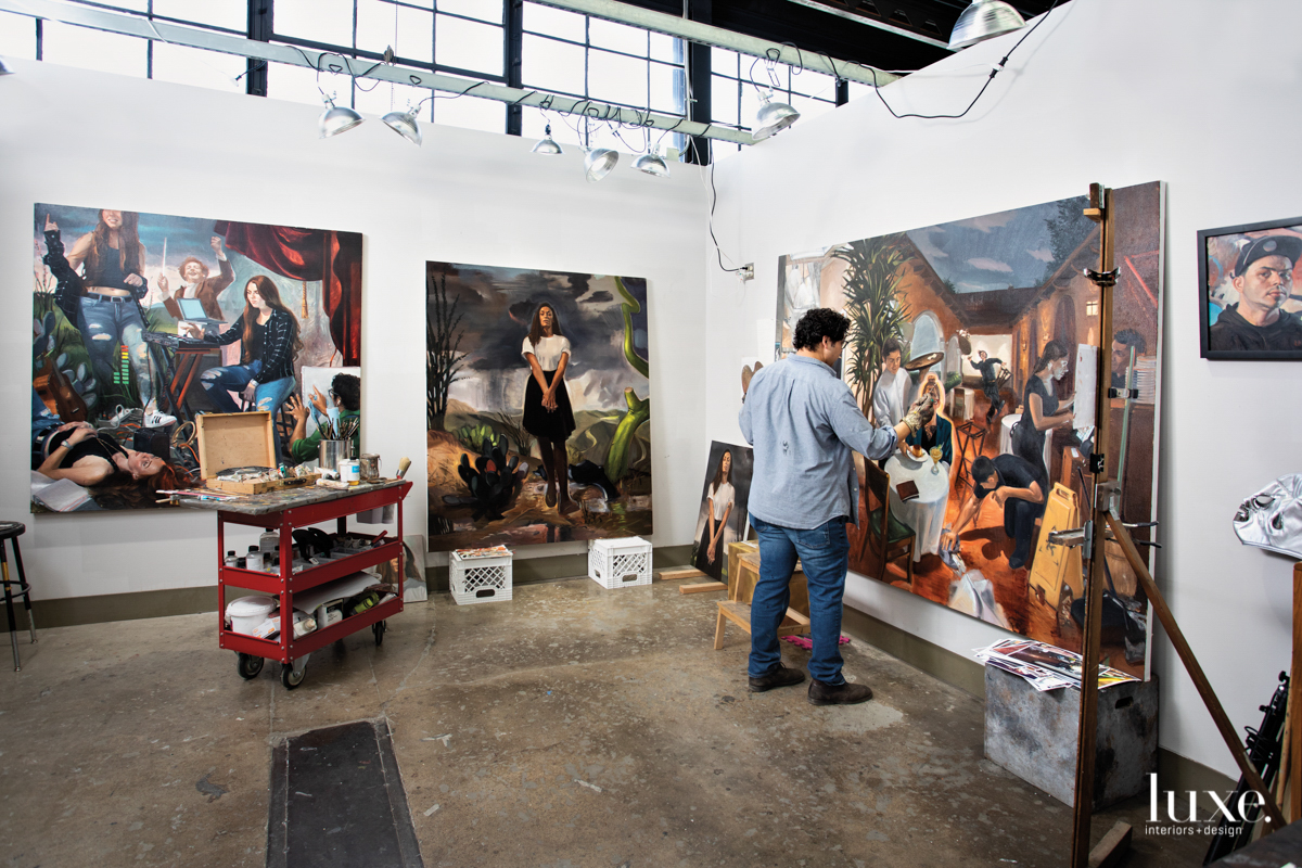 The artist's studio is at Arizona State University, where he is completing his Master of Fine Arts.