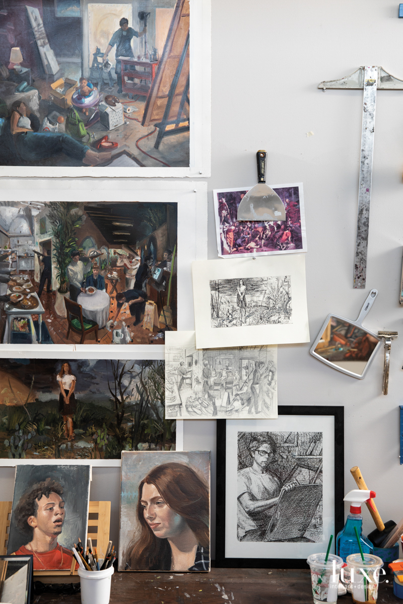 Sketches and studies for larger canvases painting hang in the Phoenix studio of artist Larry Madrigal, who counts Renaissance portraiture as an important influence.