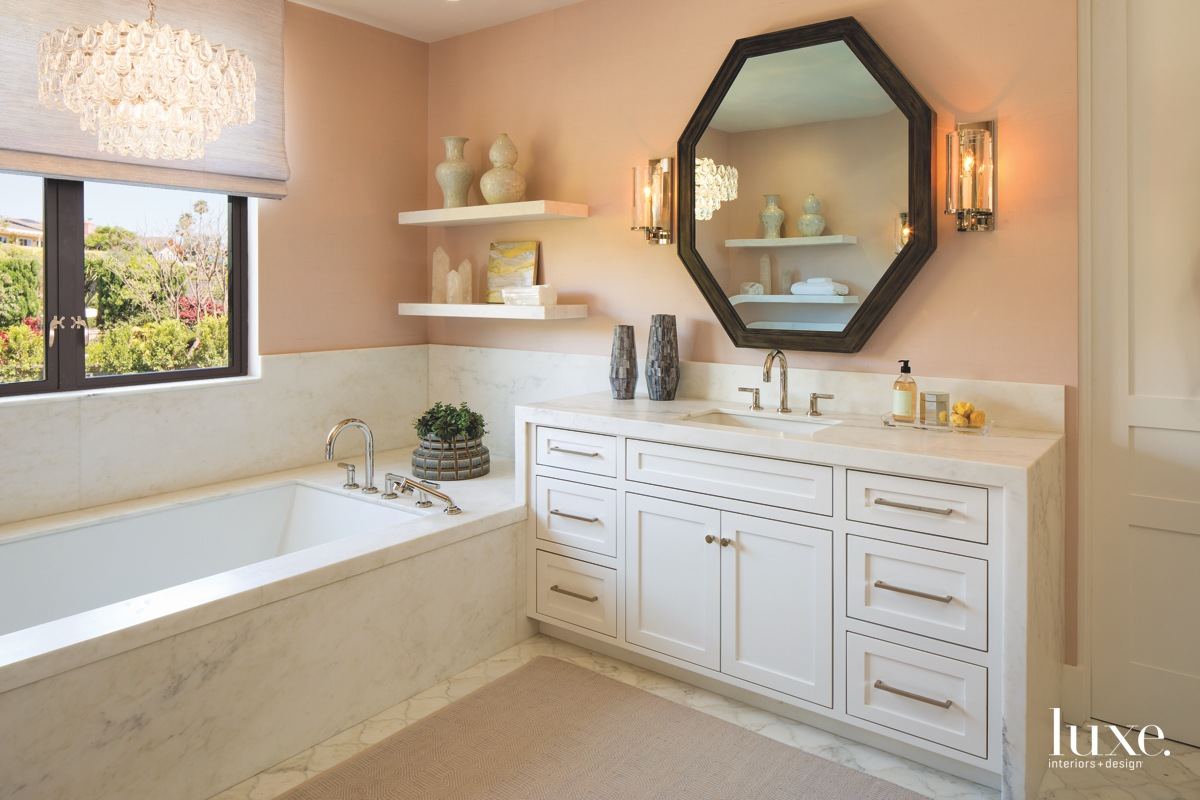 contemporary bathroom pink wall