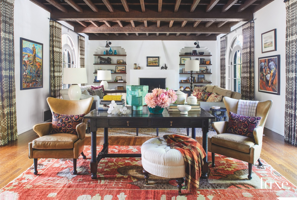 eclectic living room vintage textiles...