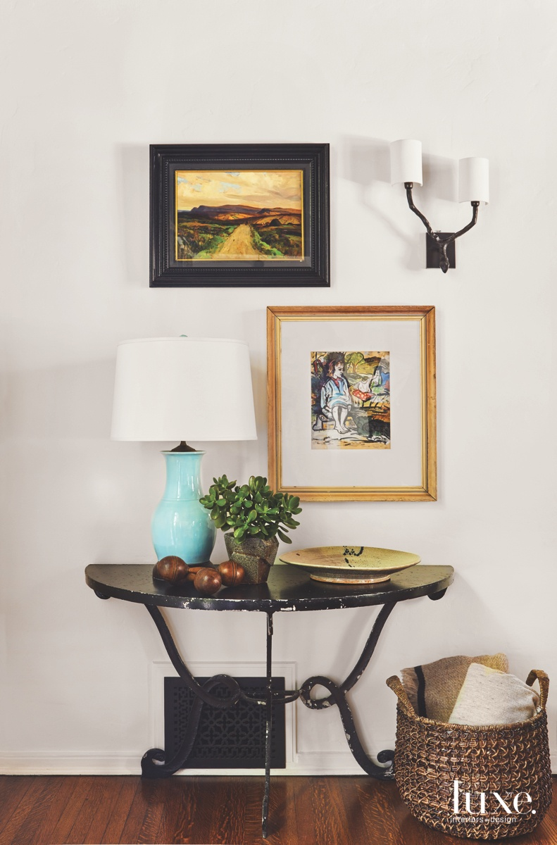 eclectic living room vintage table...